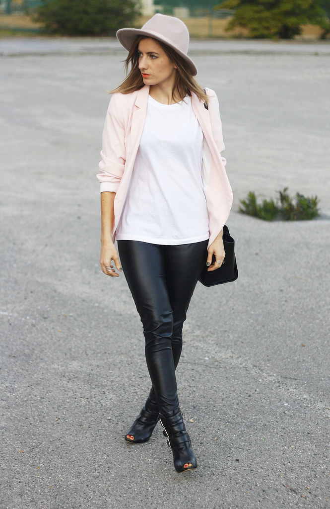 Outfit wearing White t-shirt, pink blazer, nude hat