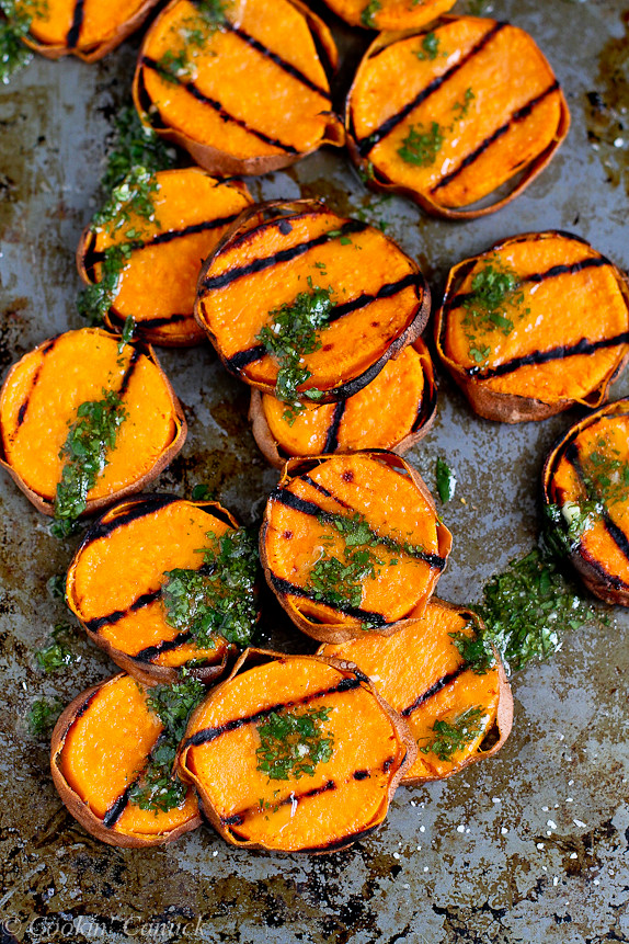 Grilled Sweet Potatoes with Cilantro Vinaigrette is an awesome side dish recipe that happens to be vegan! 117 calories and 4 Weight Watchers SmartPoints