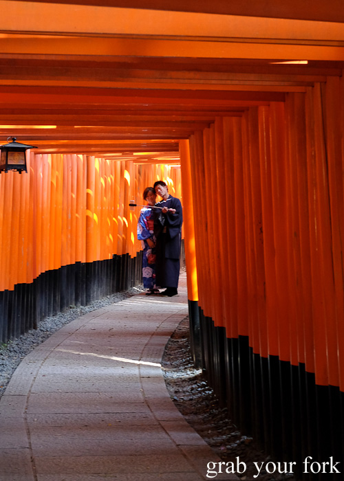 Taking a selfie inside Fushimi Inari Shrine, Kyoto, Japan
