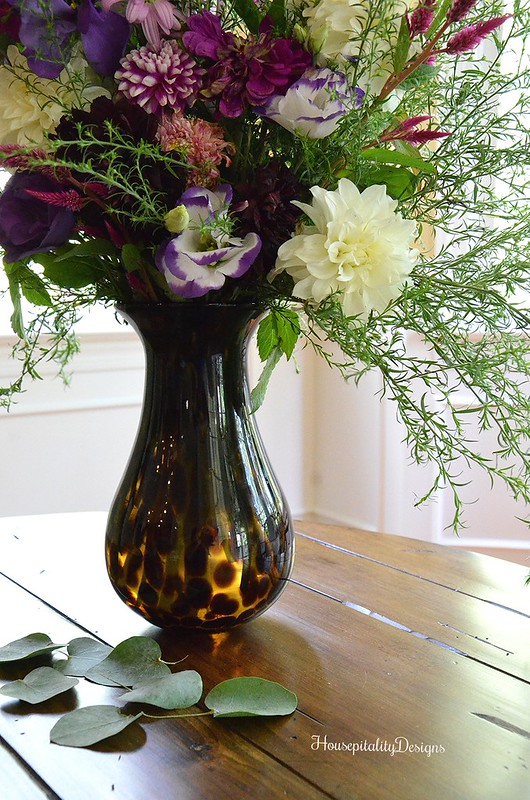 Fall Floral Arrangement - Pottery Barn Animal Print Vase - Housepitality Designs