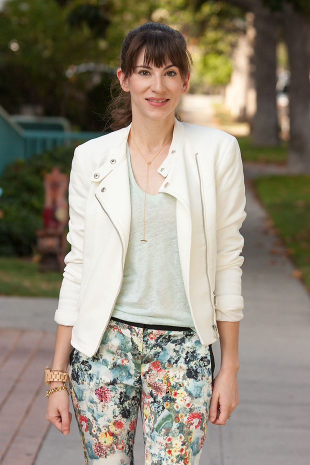 Floral Pants, White Moto Jacket, Mint Tee, Gorjana Necklace