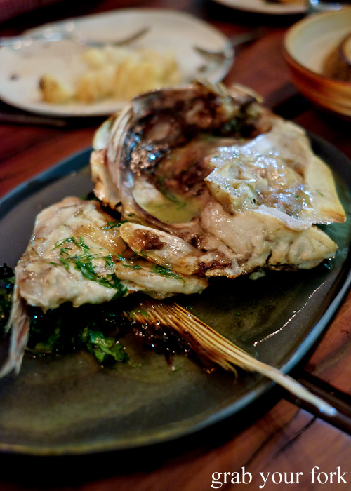 Pink snapper fish head at Firedoor by Lennox Hastie, Surry Hills