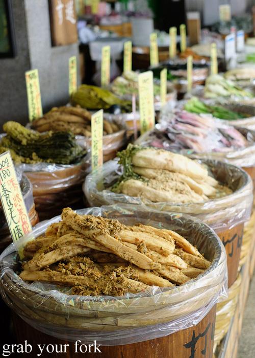 Vats of Kyoto-style pickles at Takakuraya, Nishiki Market, Kyoto