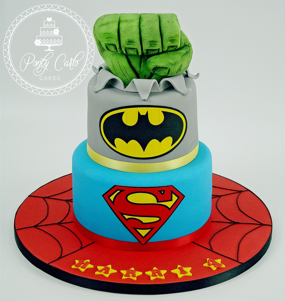Superherohulksupermanbatmanspiderman birthday cake Flickr