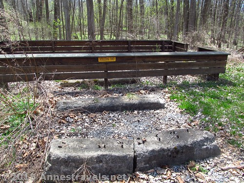 Foundation of the Interlocking Tower at Rochester Junction Park, Lehigh Valley Trail, New York