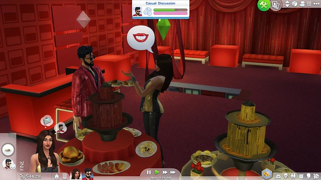 My-Sims-in-their-party-outfits-chatting-by-the-chocolate-fountain