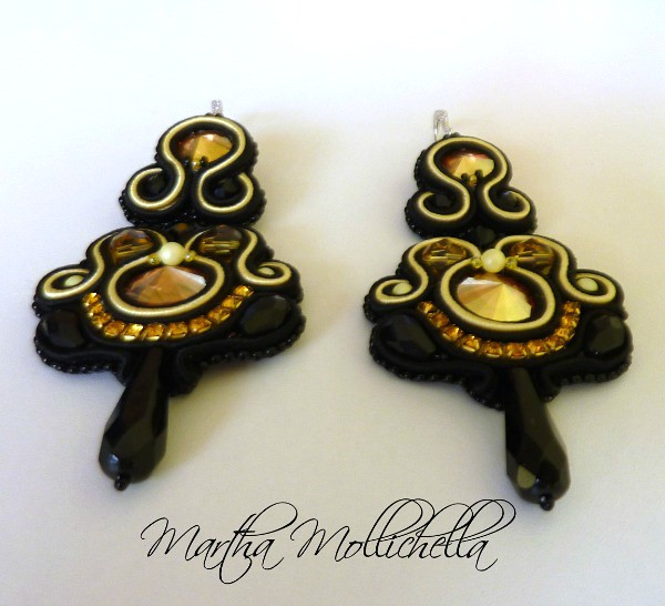 soutache earrings with swarovski crystal handmade in Italy by Martha Mollichella