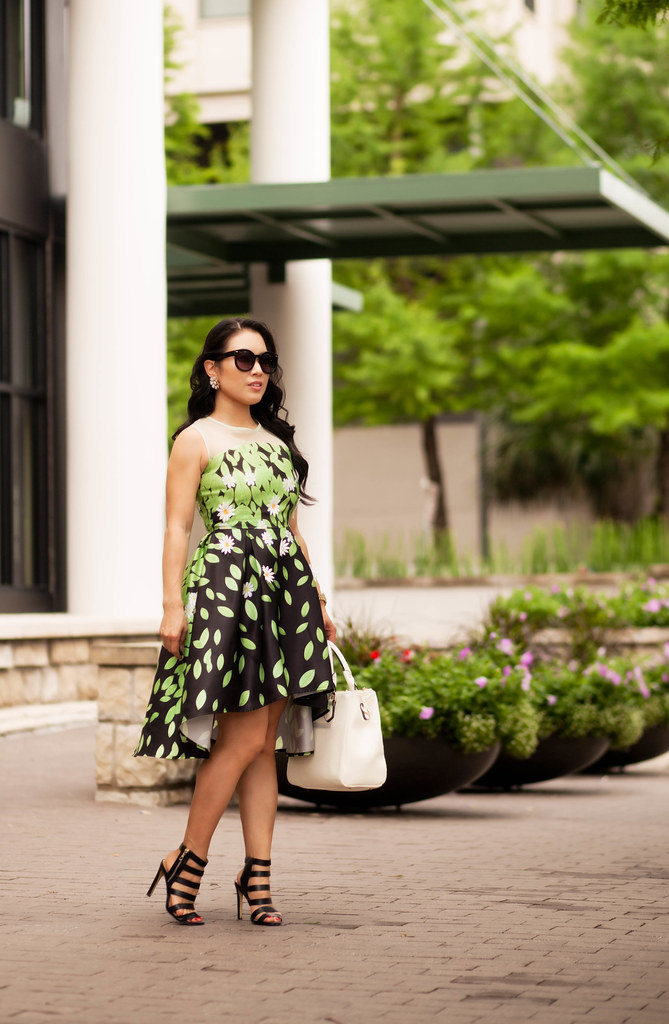 cute & little blog | petite fashion | choies black green leaves mesh high-low daisy dress, ann taylor rosie strappy black sandals, white satchel handbag | spring summer outfit