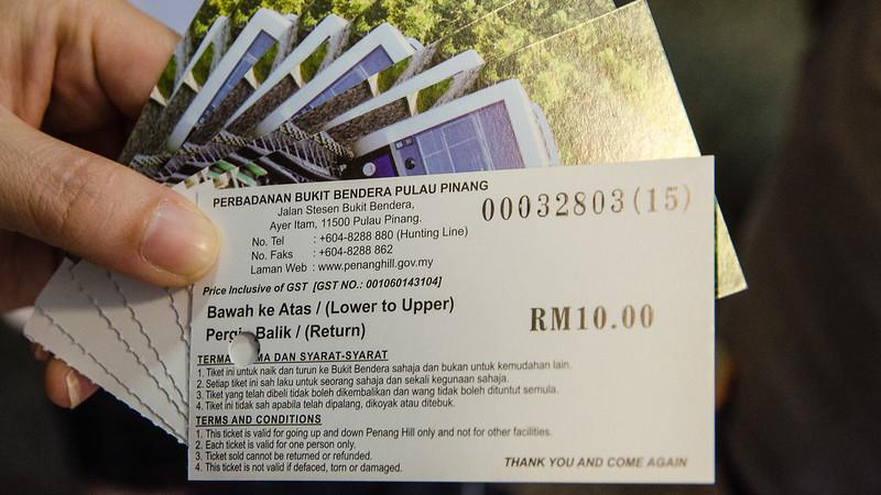Our ticket to Penang Hill / Bukit Bendera