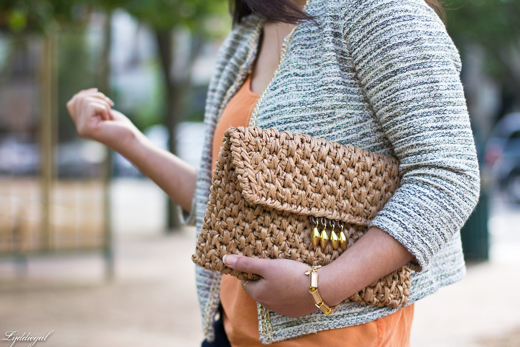textured jacket, orange tank, denim, straw clutch-8.jpg