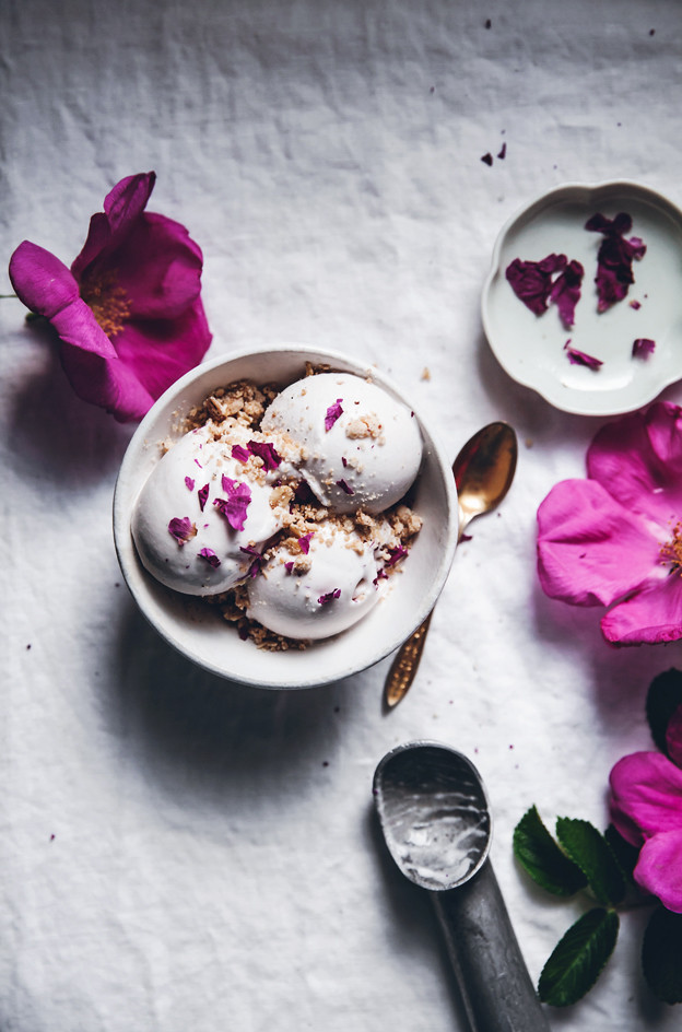 ... : Vegan coconut + rose petal ice cream with cardamom crumble topping