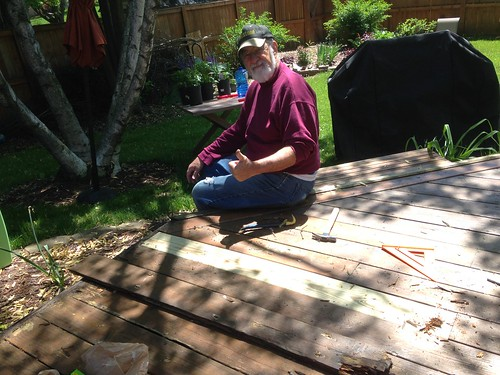 Grandpa Sitting By His Handiwork