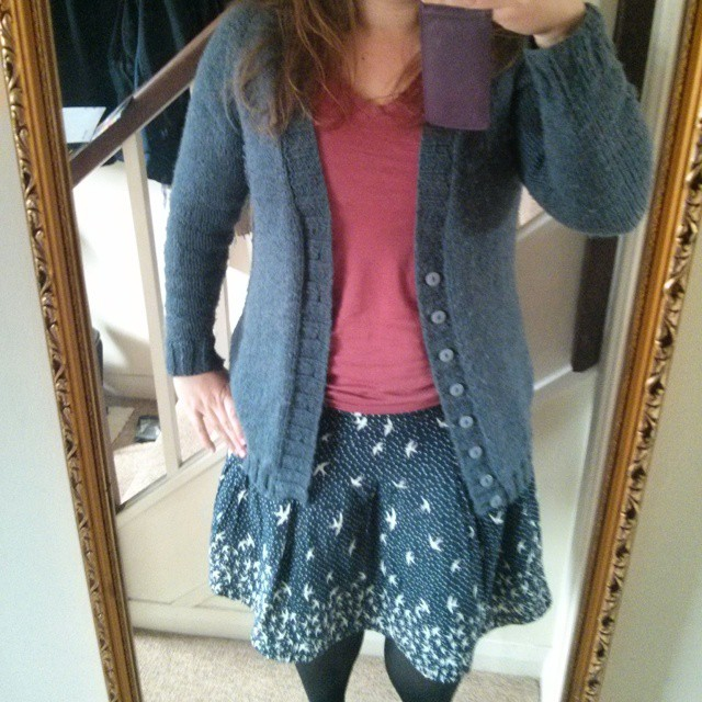 #mmm15 day 27 - shapely boyfriend cardigan + RTW T-shirt & skirt