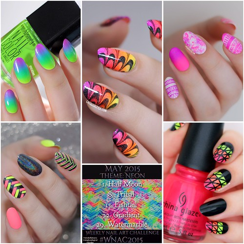 lacquerstyle kgrdnr watermarble neon nail art nail artist hand painted ombre gradient summer nails tutorial tutorials tribal fishtail holographic china glaze
