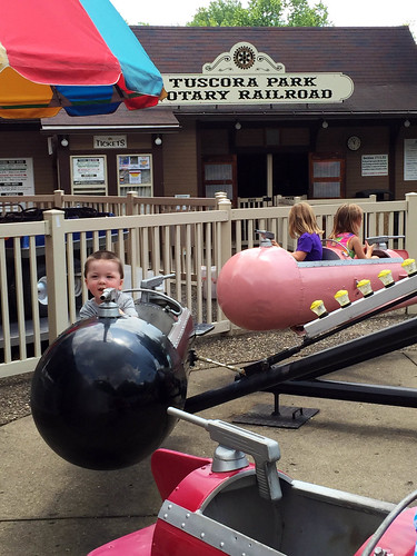 Riding the rides at Tuscora Park