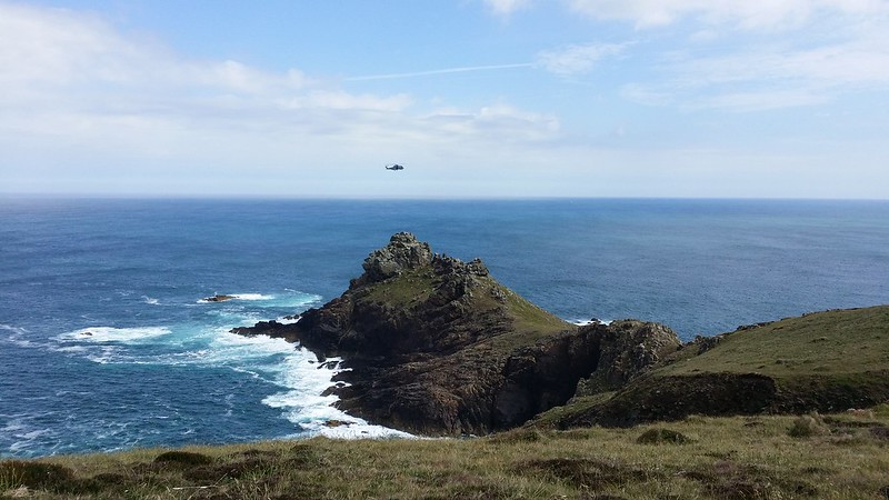Navy helicopter  over Gurnard's Head #SWCP #sh