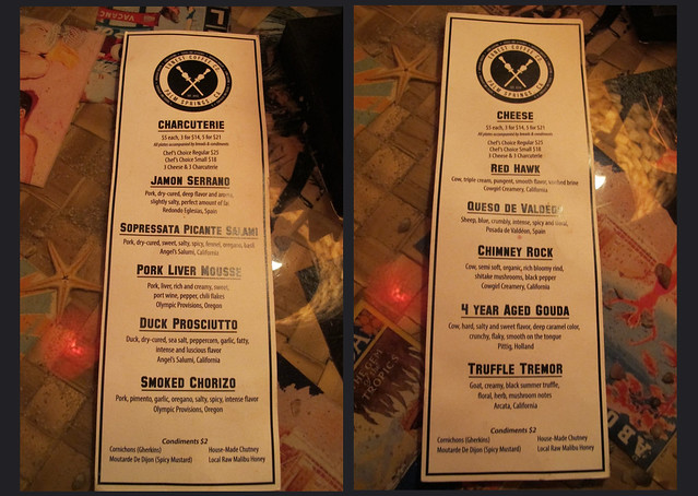 Cheese & charcuterie menu at Bootlegger Tiki