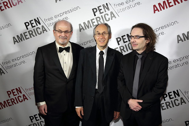 Salman Rushdie with Gérard Biard and Jean-Baptiste Thoret of Charlie Hebdo, 2015 PEN Literary Gala