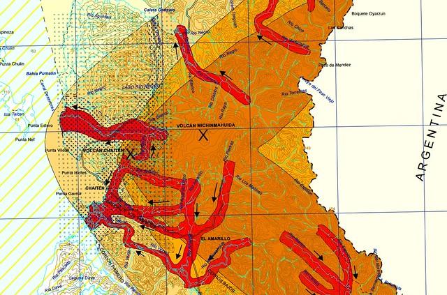 Mapa de peligros del volcán Chaitén