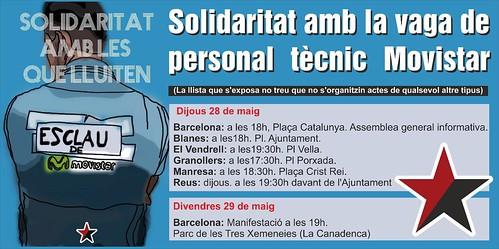 concentracions en solidaritat #resistenciamovistar a diverses ciutats a Catalunya el #28M i 29M