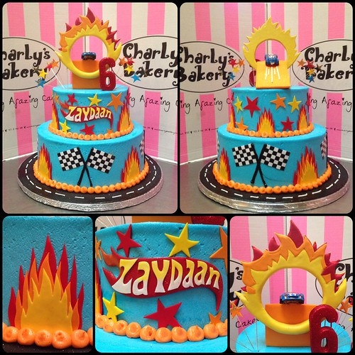 2 Tier Hot Wheels Themed Birthday Cake Iced In Sky Blue Bu
