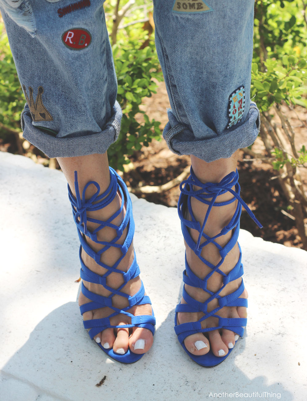 Blue Lace Up Heels