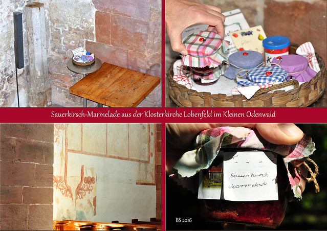 Sauerkirsch-Marmelade aus der Klosterkirche Lobenfeld - Foto und Collage: Brigitte Stolle 2016