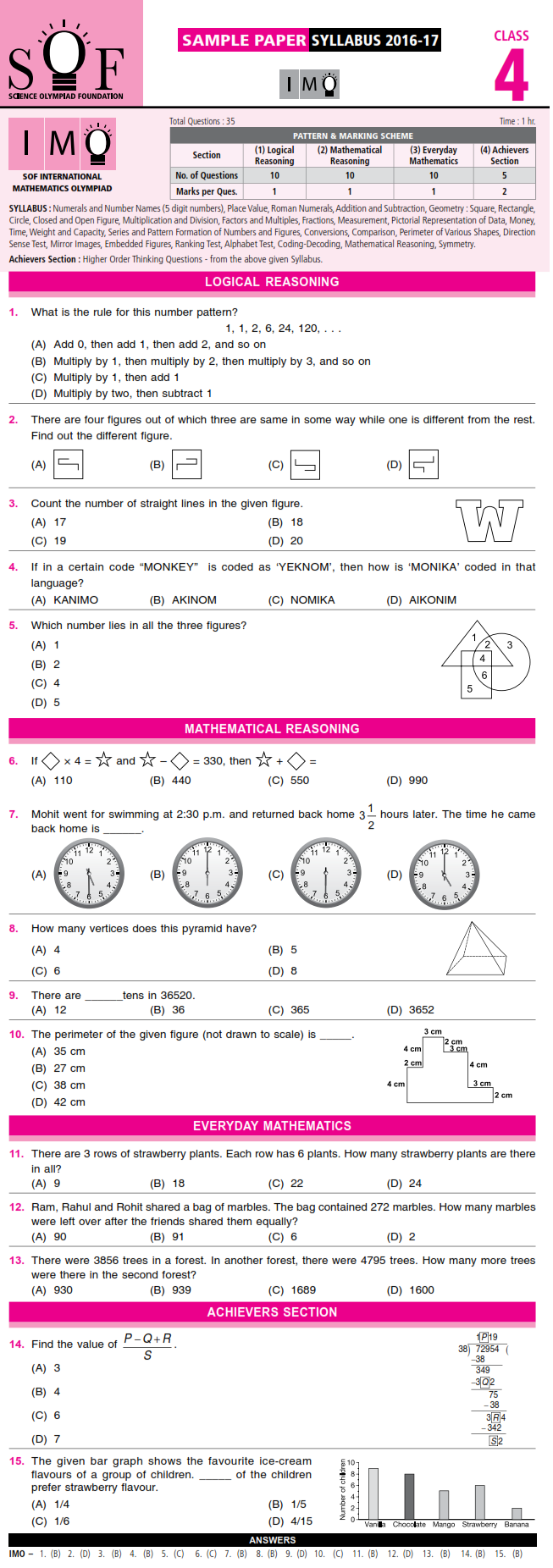 Maths Olympiad For Class 4 Free Sample Papers - free maths ...