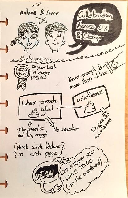 "Sketchnote of Anton & Irène's talk ""Collaborating Across UX & Design"""