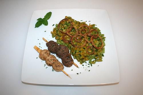 49 - Ramson spaetzle with fried onion rings & skewers - Served / Bärlauchspätzle mit Zwiebelringen & Grillspieß - Serviert