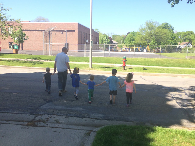 ben walking with kids