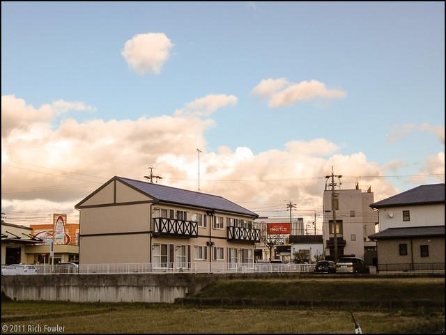 Backstreets of Okazaki near Yamasa. Rice Field.