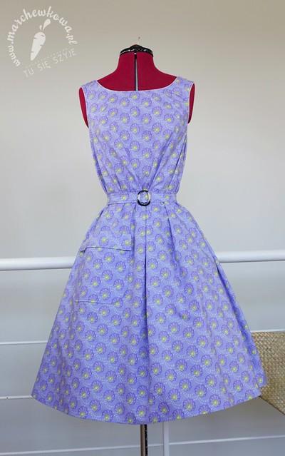marchewkowa, blog, moda, szycie, krawiectwo, sewing, seamstress, pattern, wykrój, beyer mode 1/1959, 50s, tent dress, A-shape, A-line, trapeze, sukienka trapezowa, namiotowa, w kształcie litery A, Color-Mercado, cotton, bawełna, V&A Museum, Rowan