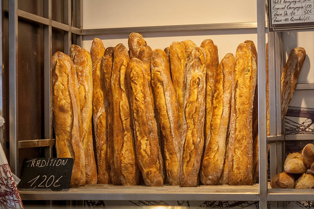 Baguettes in a bakery in Paris, France