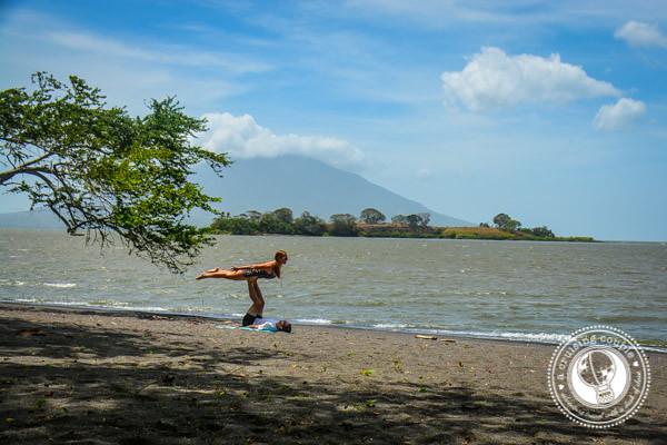 Partner Yoga on the Beach Isla Ometepe Nicaragua
