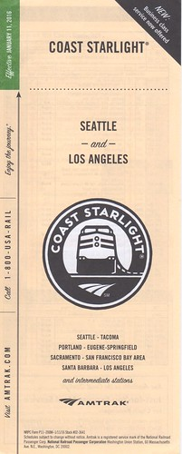 Amtrak Coast Starlight 2016 Cover