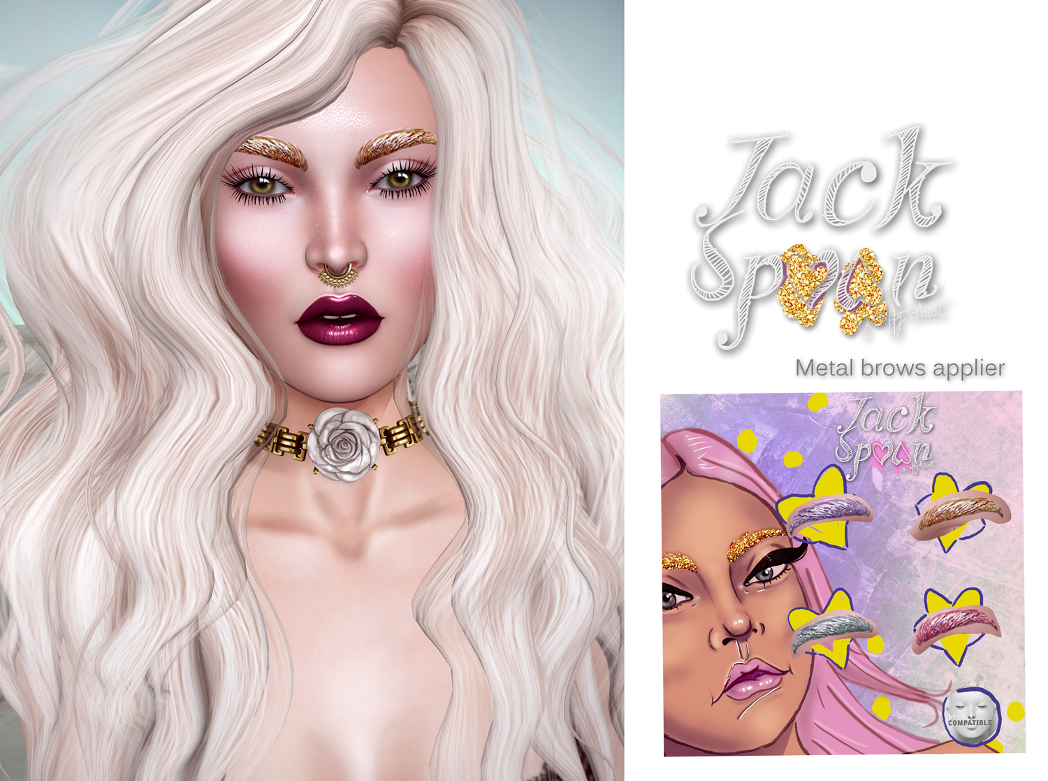 {JACK SPOON} Glitter Brows - Lelutka Applier