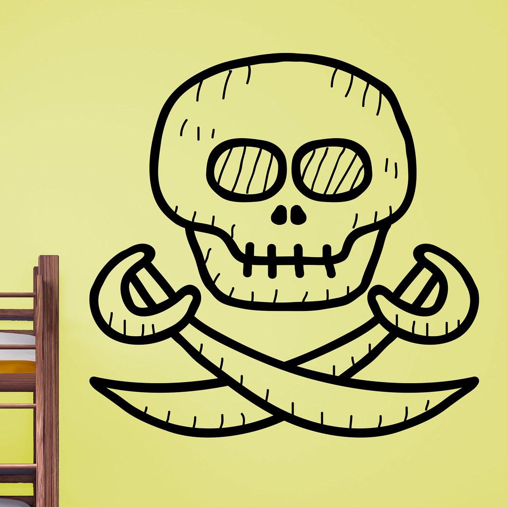 Cartoon Pirate Skull and Cross Swords Kids Wall Sticker   Flickr