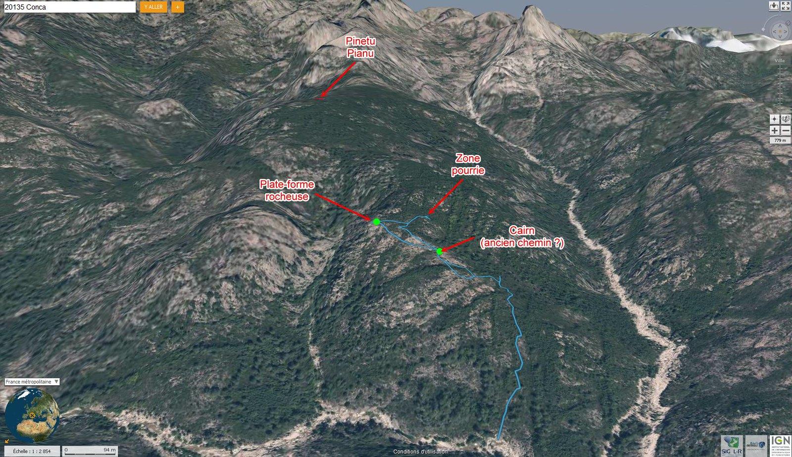 Photo aérienne 3D du versant de montée à Pinetu Pianu avec la trace de montée 07/2016