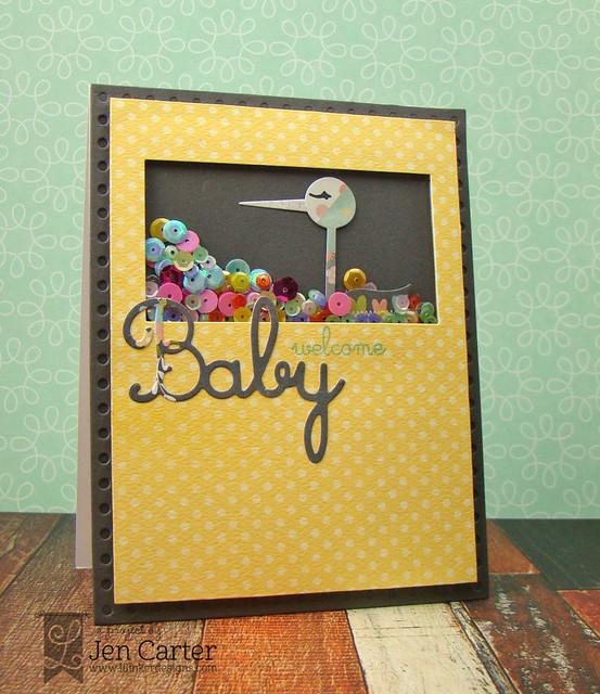 Jen Carter Baby Shaker Stork 7 wm