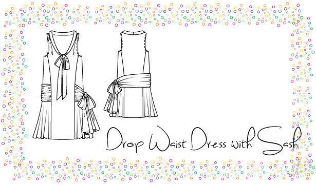 Drop Waist Dress with Sash