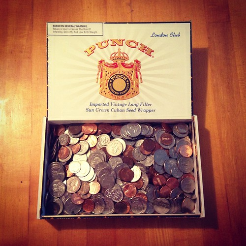 Pirate booty! Took a bunch of coins in a cigar box to the bank today. My inner child was beaming with pirate references. Aaaarrr!