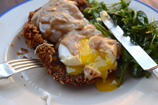 Chicken Fried Steak and Poached Eggs at TART in West Hollywood