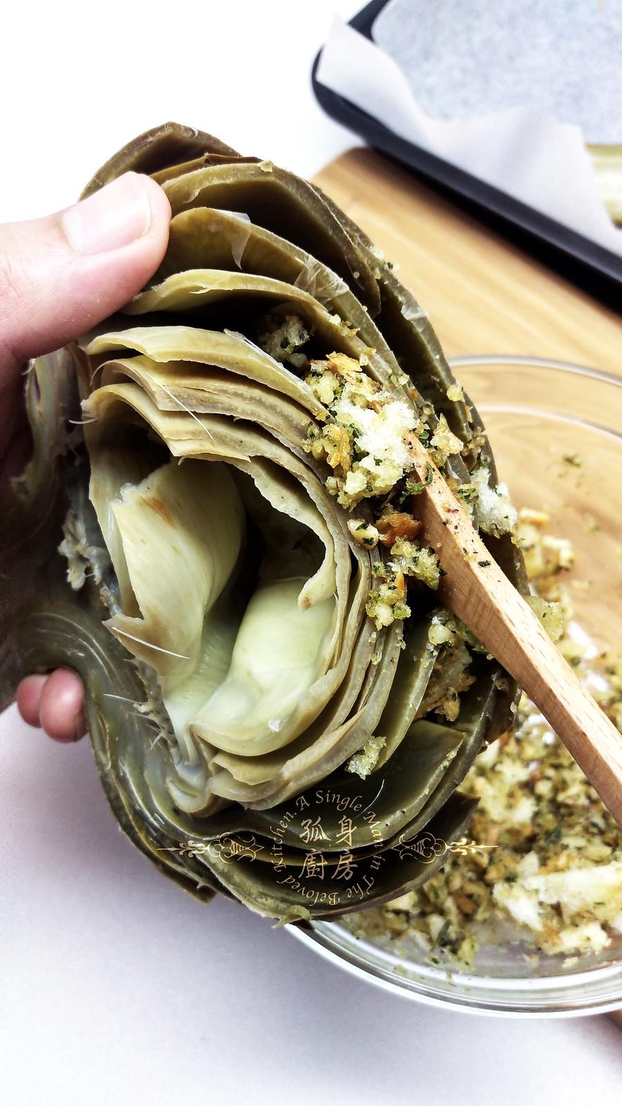 孤身廚房-青醬帕瑪森起司鑲烤朝鮮薊佐簡易油醋蘿蔓沙拉15