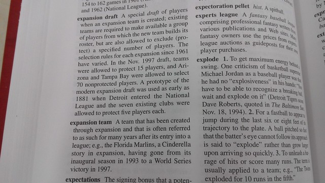狄克森棒球辭典也提到擴編球隊與擴編球隊選秀
