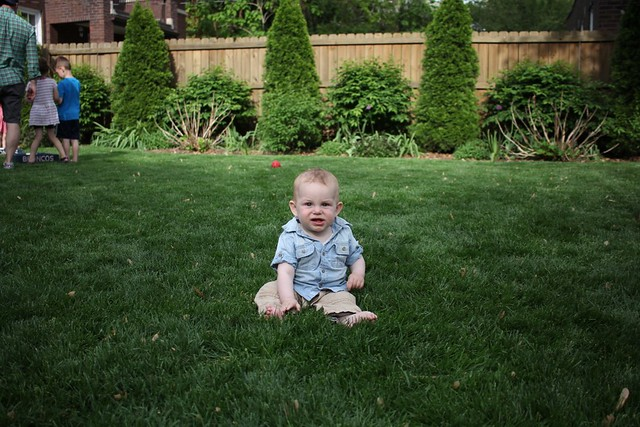 Immobile baby loves being in the grass