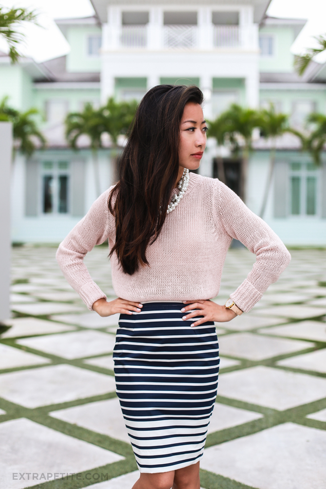 linen sweater stripe skirt