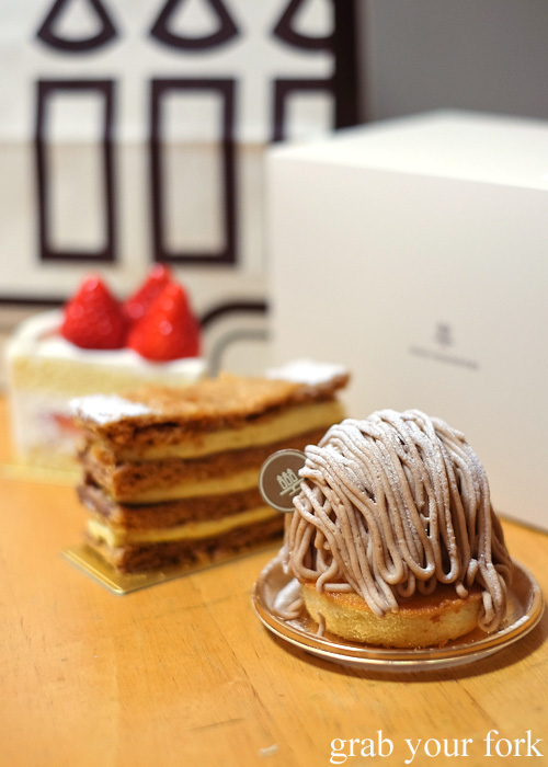 Mont blanc, millefeuille and strawberry shortcake from Henri Charpentier, Isetan at Kyoto station
