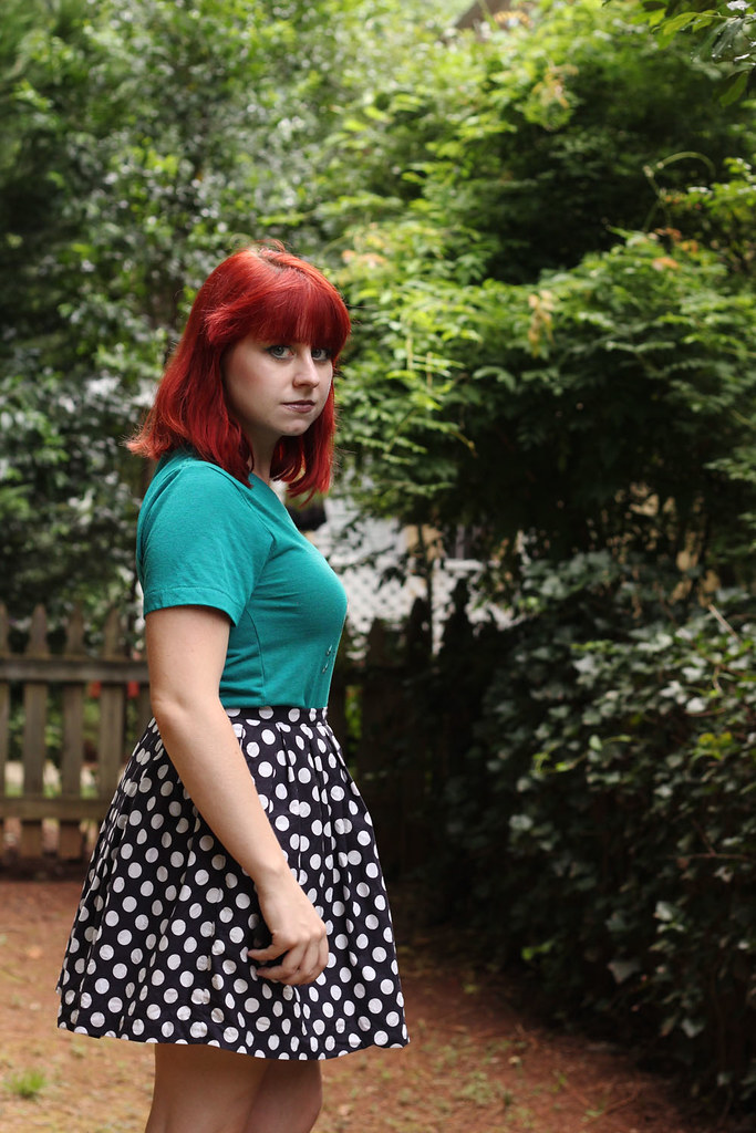 Bright Red Hair Blue-Green T-shirt Polka Dot Skirt