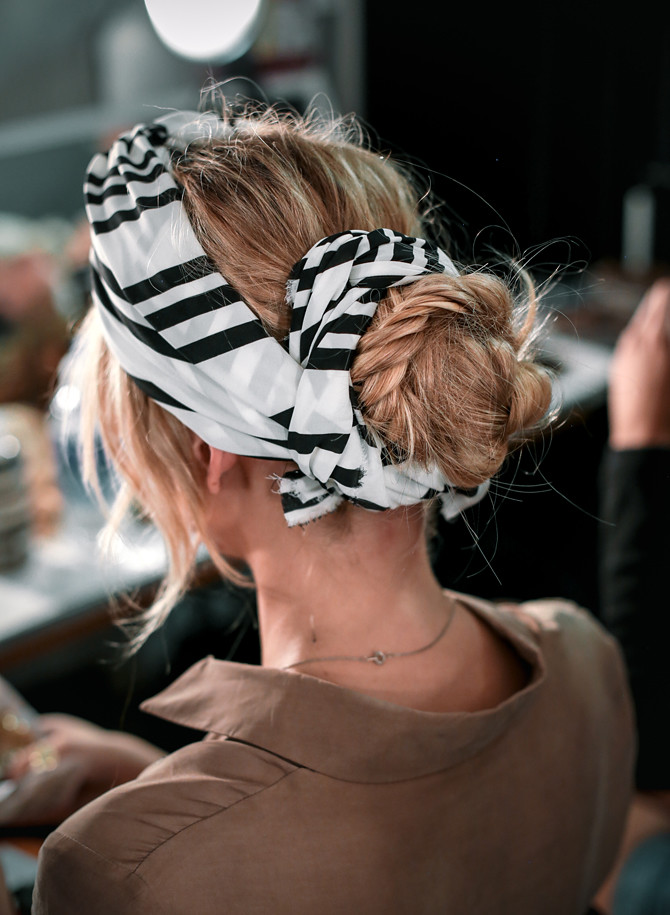 fishtail braid bun wrapped in turban scarf updo